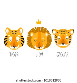 set of three simple illustration of lion, tiger and jaguar on white background. cute cartoon safari animals set