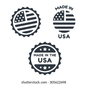 Set of three simple round Made in USA icons isolated on white background.