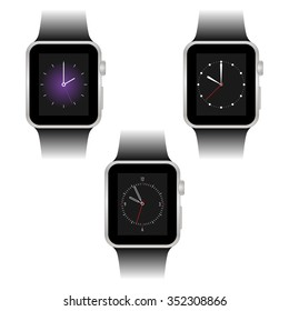 Set of three smart watches with different dial.