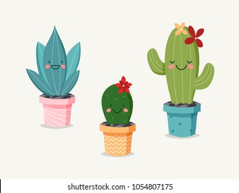 Set of Three Smiling Hand Drawn Cactus in Pots.