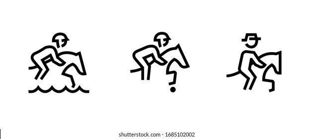 Set of three sport icons. Editable line vector. A man on a horse in the water, with a ball and a hat. Single pictogram.