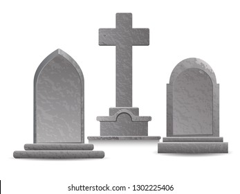 set of three stone gray tombstones on a white background, EPS 10