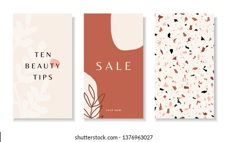 A set of three stories templates with abstract botanical and organic shapes in brown, pastel pink, orange and cream. Trendy contemporary collage style flyer, card, brochure, social media post design.