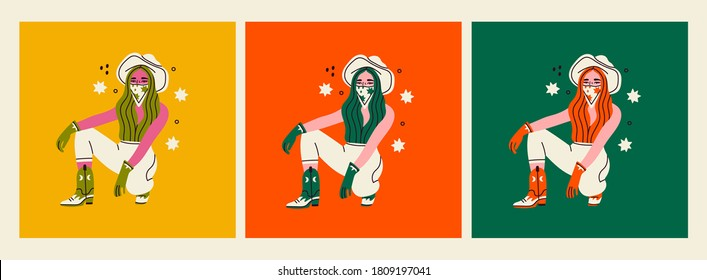 Set of three stylish young Women with a cowboy hats. Cowboy girl sitting and wearing boots and gloves. Hand drawn colored trendy Vector illustrations. Every card is isolated