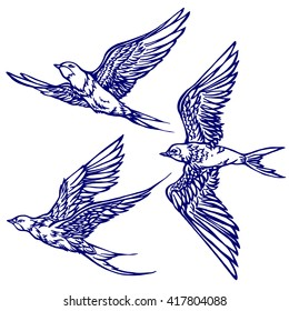 Set of three swallows flying. Hand drawn. graphics. sketch