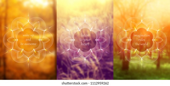 "Set of three template for card or poster, vertical format; Spiritual sacred geometry on blurred background with place for your text; ""Flower of life"" and lotus; Yoga, meditation and relax."