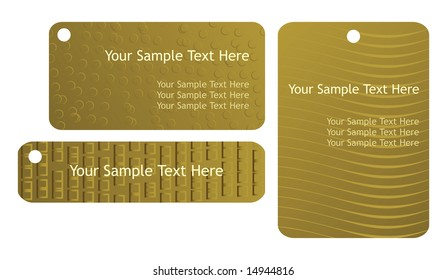 Set of three templates for gift tags or cards.