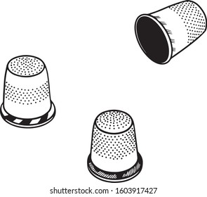 Set of three thimble. Line drawing. Vector illustration.