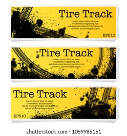 Set of three tire track banners with halftone patterns