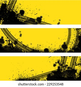 Set of three tire track banners with halftone pattern. eps10