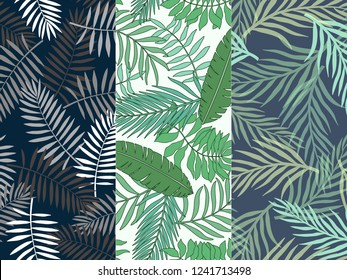 Set of three of tropical backgrounds with palm leaves. Seamless floral patterns. Summer vector illustrations. Flat jungle prints.