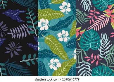 Set of three tropical backgrounds with palm leaves. Seamless floral patterns. Summer vector illustrations. Flat jungle prints