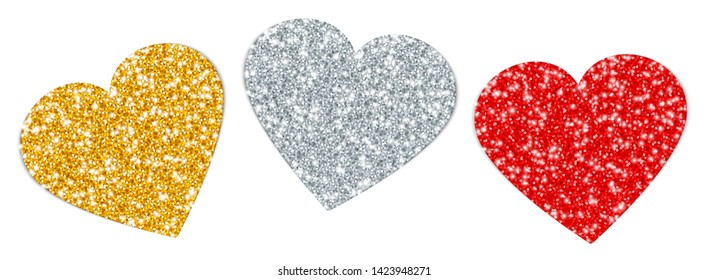 Set Three Turned Hearts Sparkling Gold Silver Red