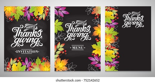 A set of three typographic design cards for Thanksgiving Day.