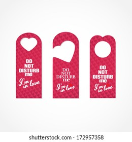 Set of three valentine's day themed do not disturb door signs