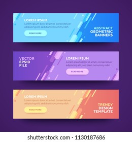 Set of three vector abstract baners. Trendy modern flat material design style. Blue, purple and orange colors. Text placeholder.