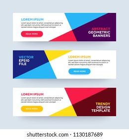Set of three vector abstract baners. Trendy modern flat material design style. Blue, red and yellow colors. Text placeholder.
