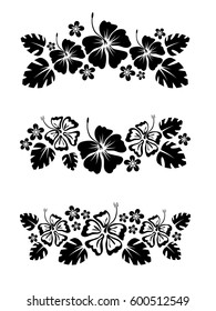 set of three vector abstract floral border for design