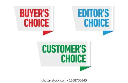 Set of three vector badges - editors choice, customers choice, buyers choice