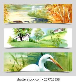 Set of three vector banners, Landmarks cards, full image under mask, vector illustration