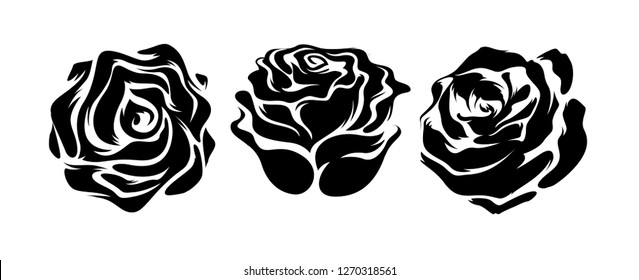 Set of three vector black silhouettes of rose flowers isolated on a white background. - Vector