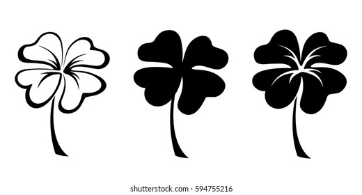 Set of three vector black silhouettes of four leaf clovers.