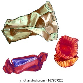 Set of three vector candy wrappers