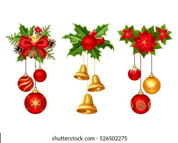 Set of three vector Christmas decorations with red and gold balls, bells, fir branches, holly and poinsettia isolated on a white background.
