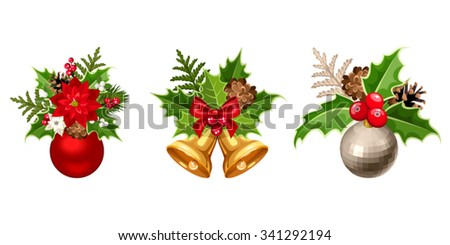 Set Three Vector Christmas Decorations Balls Stock Vector Royalty