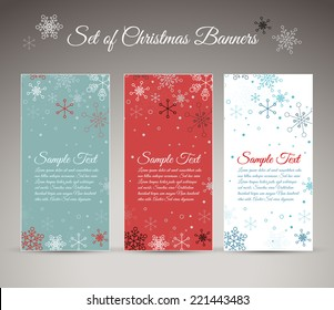 Set of three vector christmas / New Year vertical banners with snowflakes