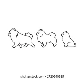 Set of three vector dogs. Puppy contour drawing. Tattoo dog. Small cute puppy. Dog cartoon sketch. Dog isolated. Contour dog. Drawing pomeranian spitz.