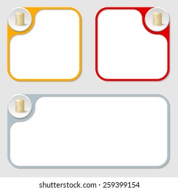 set of three vector frames and coin