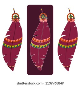 Set of three vector illustrations of boho feathers in red tones with various outlines