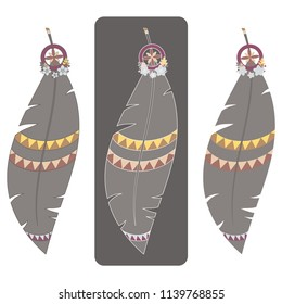 Set of three vector illustrations of colorful boho feathers with various outlines