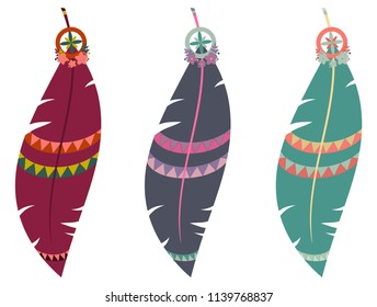 Set of three vector illustrations of multicolored boho feathers isolated on white background