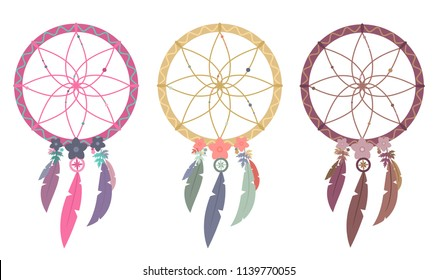 Set of three vector illustrations of multicolored boho dreamcatchers isolated on white background