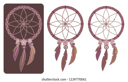 Set of three vector illustrations of multicolored boho dreamcatchers with various outlines