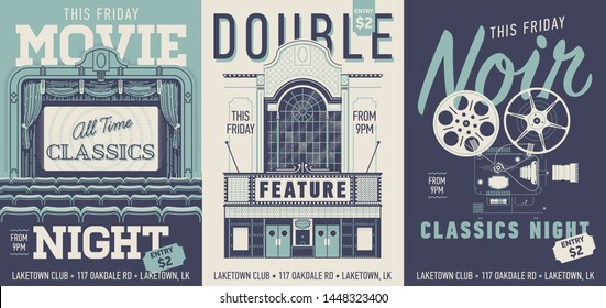 Set of three vector movie poster, flyer or banner templates in retro style. Movie night, Double Feature and Noir Classics night concept designs with vintage looking movie theater items
