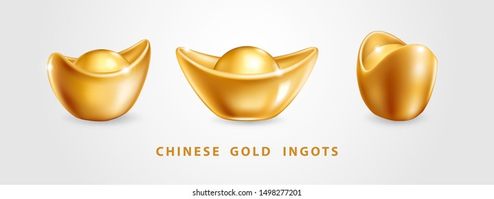 Set of three Vector realistic chinese gold ingots Yuan Bao isolated on white background. Decoration elements for Chinese New Year design. Symbol of wealth, abundance and monetary luck in Feng Shu