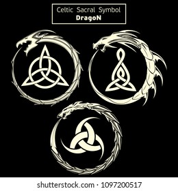 Set of three vector sacral Celtic symbols. Dragon. Magic sign. Sacred geometry. Sacred symbol of Vikings. Ancient sacral sign of Celts. Alchemy, religion, spirituality. Vector illustration.
