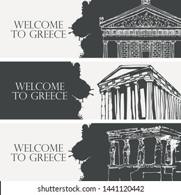 Set of three vector travel banners on the theme of Ancient Greece with pencil drawings of Greek attractions in retro style. Parthenon, Temple of Nike Apteros, Acropolis, Athens. Welcome to Greece.