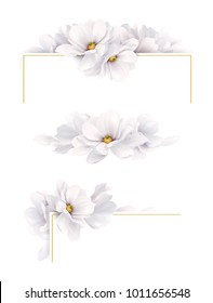 Set of three version of decoration invitation or congratulation cards with elegant flower composition. Blooming white magnolias on the white background.