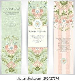 Set of three vertical banners. Beautiful floral pattern in vintage style and delicate canvas texture.Place for your text.