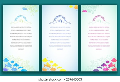Set of three vertical banners decorated with hand-painted watercolor small exotic fishes: blue, yellow, pink. Vector design for cards, invitation and other.