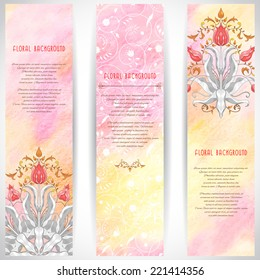 Set of three vertical banners. Tulip flower ornament and decor with leaves. Floral pattern with curls. Colored pencils. Hand drawing. Place for your text.