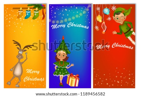 set of three vertical new year banners with cute kids in costume fir tree costume