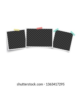 Set of three vintage blank photo frames, empty mockup for photograph in style of vintage instant picture. Templates stuck to wall with tape, isolated vector illustration on white background