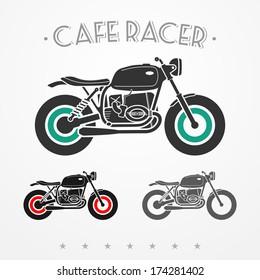 Set of three vintage flat looking motorcycles in gray colors
