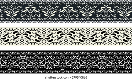 set of three vintage seamless pattern borders with abstract ornaments