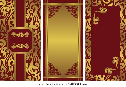 Set of three vintage stylish covers for card or invitation. Can be used for your design. Floral luxury decoration